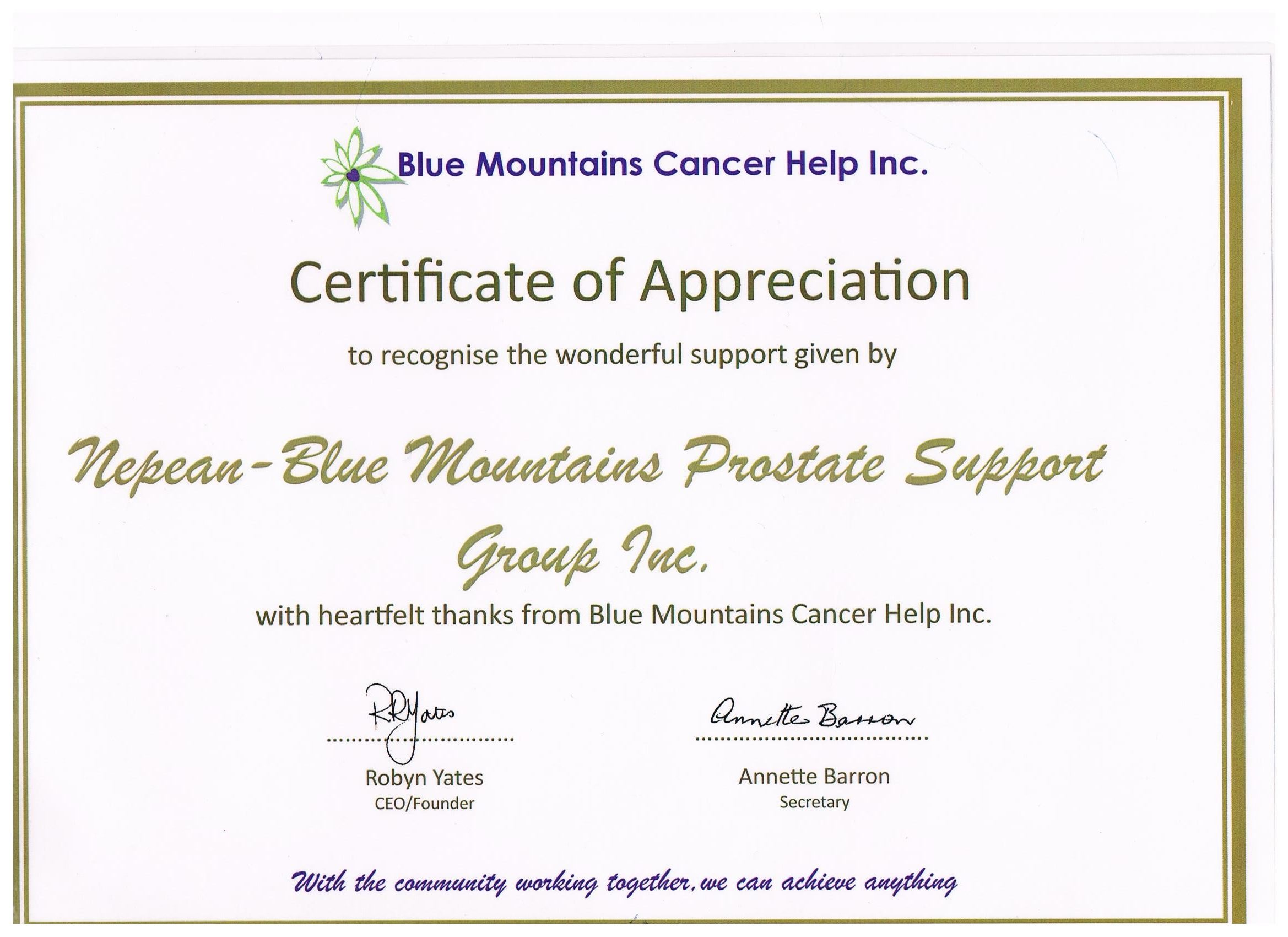 Certificate of appreciation blue mountains cancer help inc certificate of appreciation blue mountains cancer help inc nepean blue mountains prostate cancer support group yelopaper Gallery